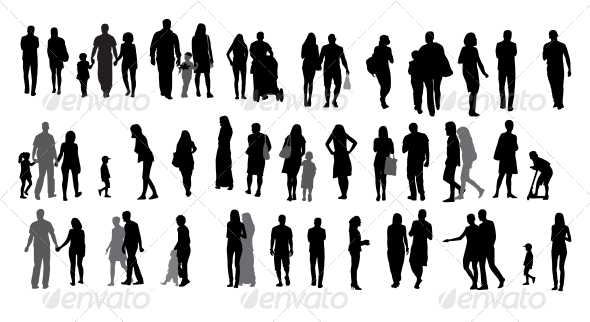 GraphicRiver Set of Silhouette Walking People and Children 6747858