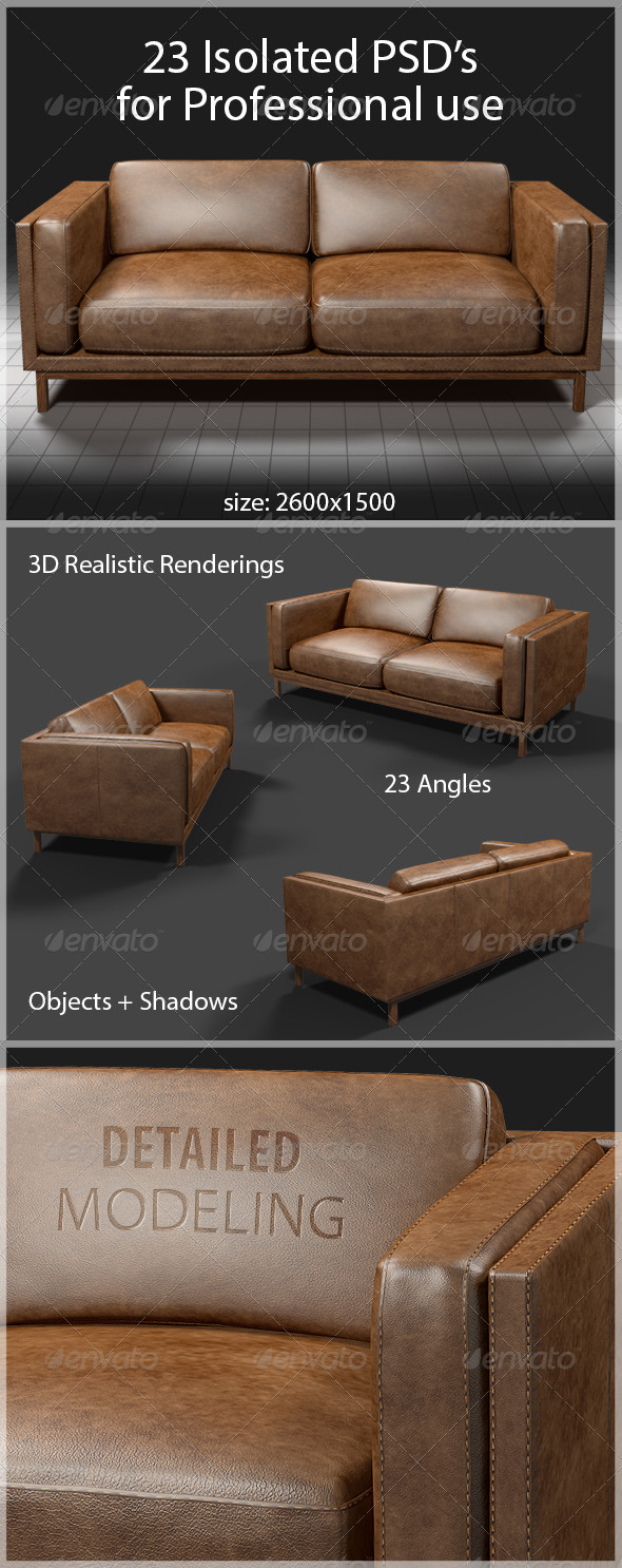 GraphicRiver 23 Angles in PSD of Brown Leather Couch 6747951