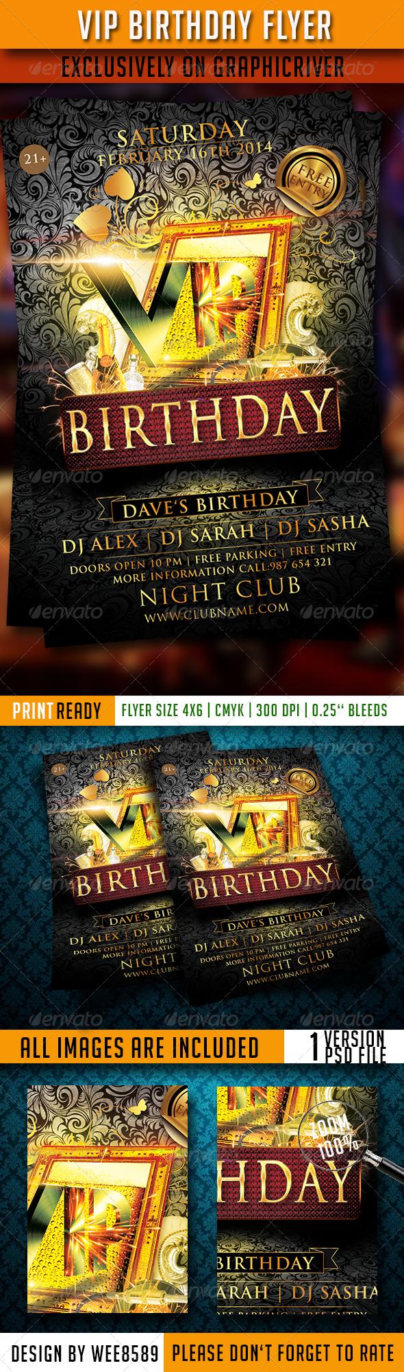 GraphicRiver VIP Birthday Flyer Template 6749055