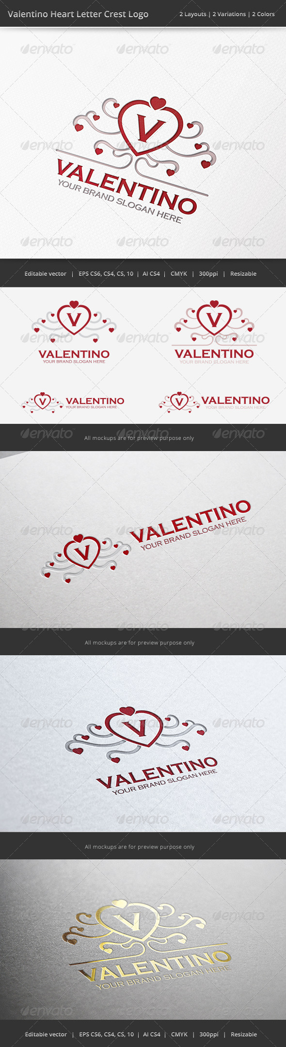 GraphicRiver Valentino Heart Letter Crest Logo 6749754