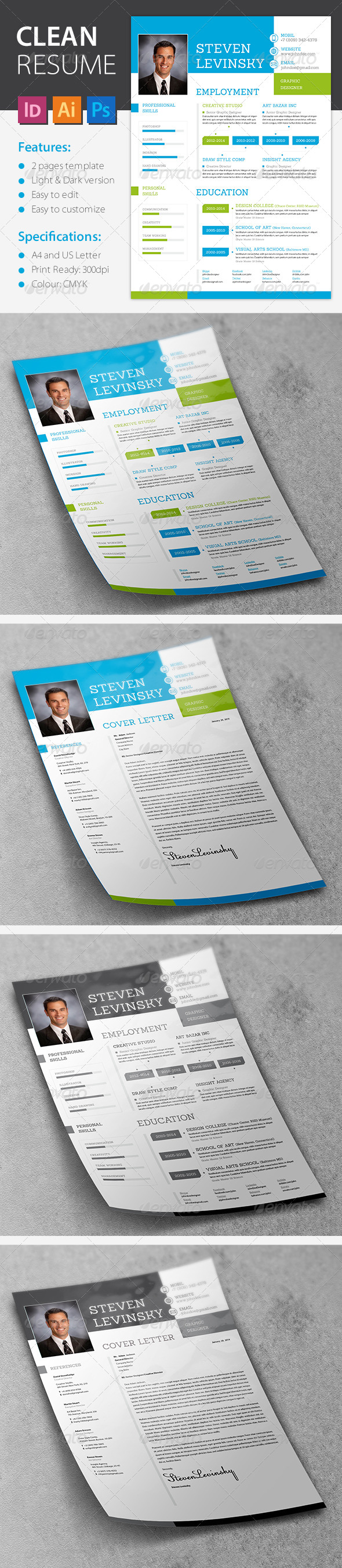 GraphicRiver Clean&Fresh Resume 6750118