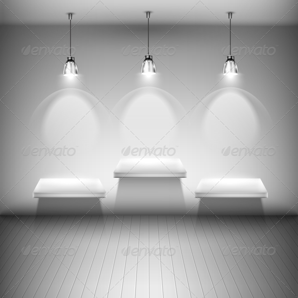 GraphicRiver Tree Illuminated Shelves in the Room 6750143
