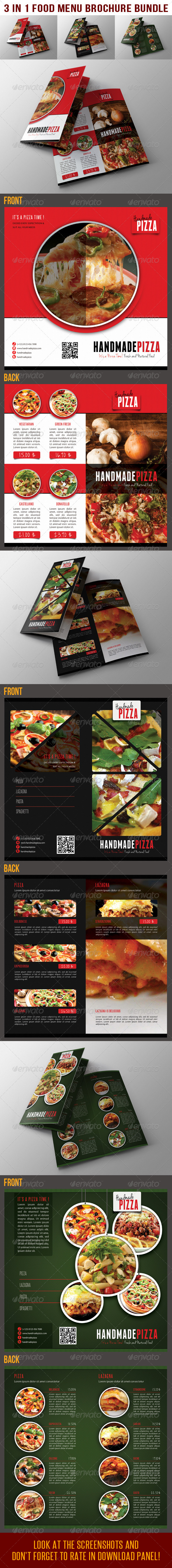 GraphicRiver 3 in 1 Food And Pizza Bifold Brochure Bundle 02 6750162