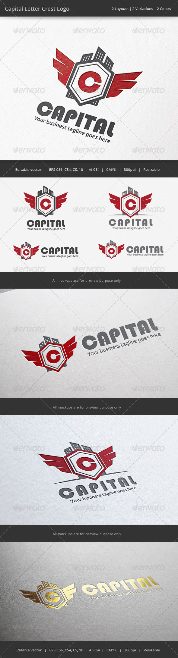 GraphicRiver Capital Letter Crest Logo 6750185