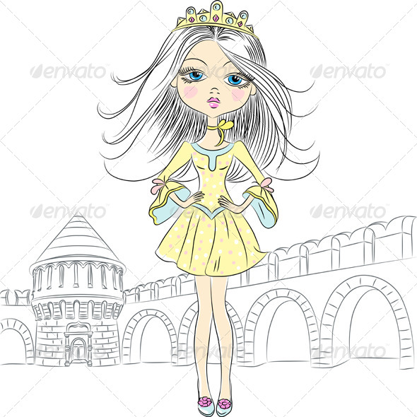 GraphicRiver Vector Beautiful Fashion Girl Princess 6751260
