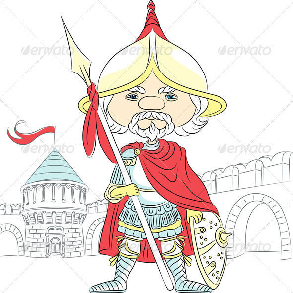 GraphicRiver Vector Cartoon Knight in Armor 6751272