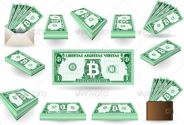 GraphicRiver Set of One Bitcoins Banknotes 6752005