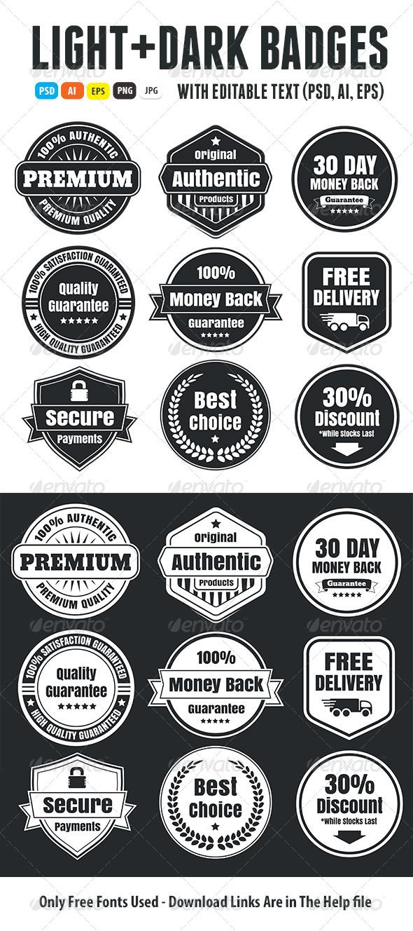 GraphicRiver Light And Dark Vintage Ecommerce Badges 6752441