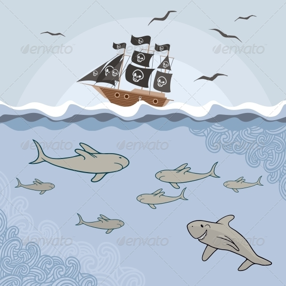 GraphicRiver Template with Cartoon Sharks 6752457