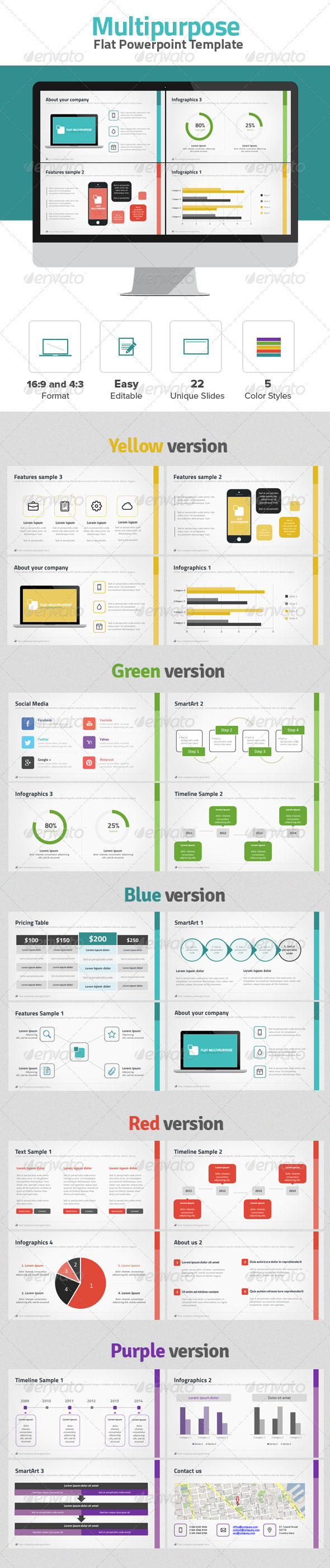 GraphicRiver Multipurpose Flat Powerpoint 6752463