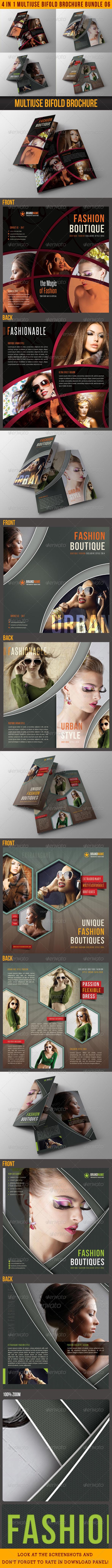 GraphicRiver 4 in 1 Fashion Multiuse Bifold Brochure Bundle 06 6753229