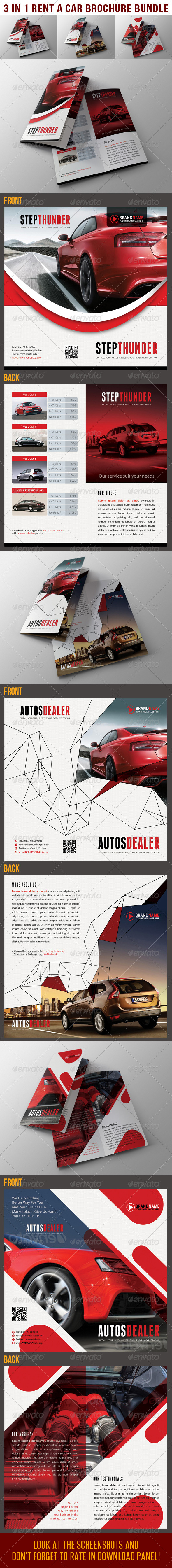 GraphicRiver 3 in 1 Rent A Car BiFold Brochure Bundle 02 6753258