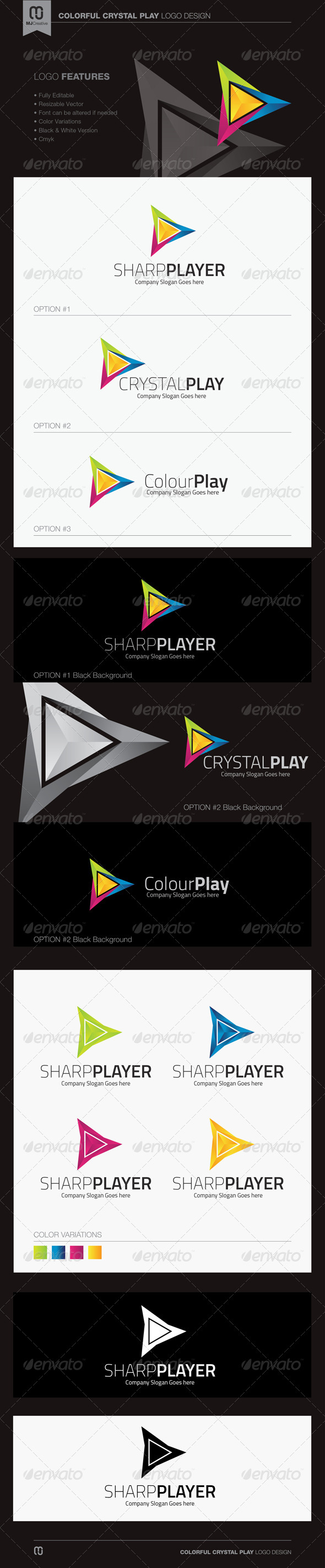 GraphicRiver Colorful Crystal Play Logo 6753428