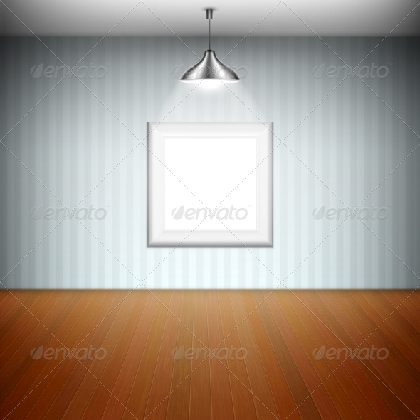 GraphicRiver Empty Picture Frame Illuminated by Spotlight 6753452