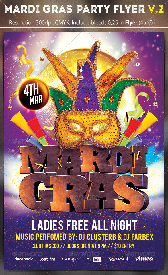 GraphicRiver Mardi Gras Party Flyer v.2 6753495