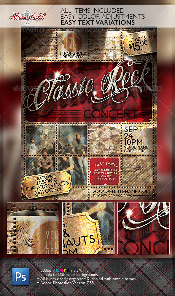 GraphicRiver Vintage Rock Concert Flyer Template 6753656