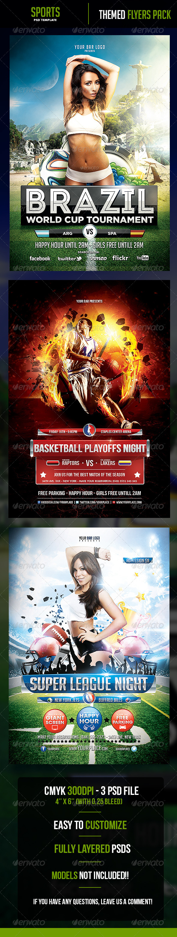 3 in One Sports Flyer Bundle - Flyers Print Templates