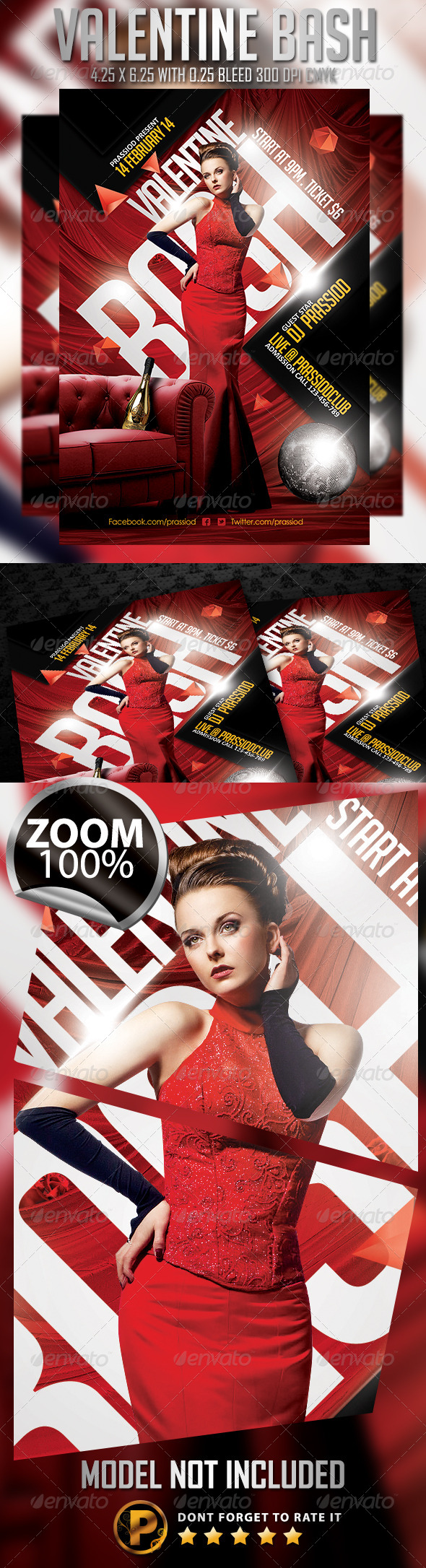 Valentine Bash Flyer Template - Clubs & Parties Events