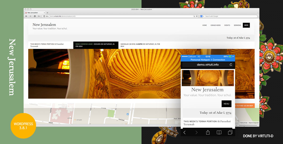 """New Jerusalem""–Synagogue (Schul) WordPress Theme"