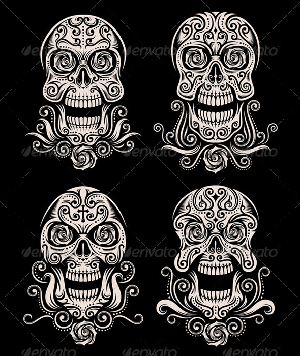 GraphicRiver Day of The Dead Skull Tattoo Vector Set 6755282