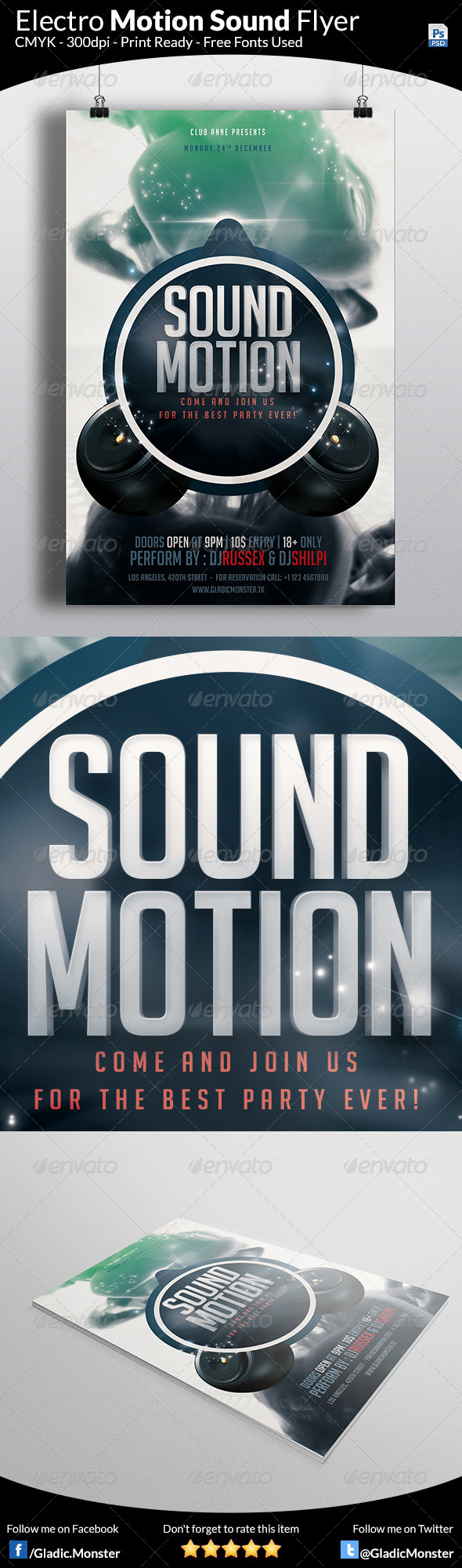 Electro Motion Music Flyer - Clubs & Parties Events