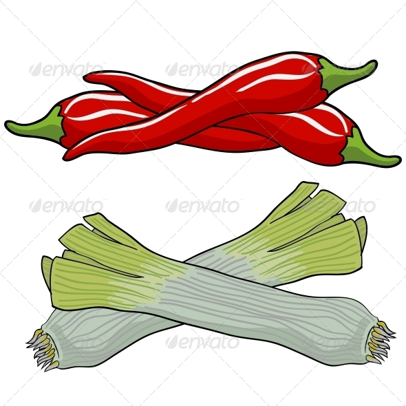 GraphicRiver Leek and Red Pepper 6755520