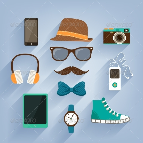 GraphicRiver Hipster Accessories Items Set 6756073