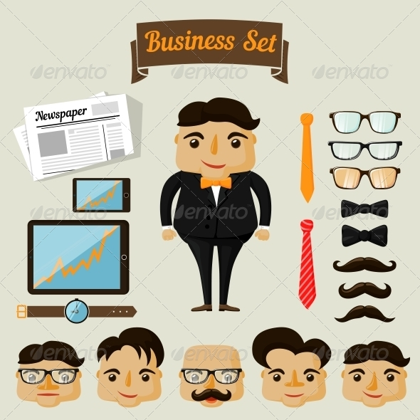 GraphicRiver Hipster Character Elements for Business Man 6756088