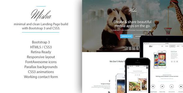 ThemeForest Misha Bootstrap 3 Retina App Landing Page 6685580