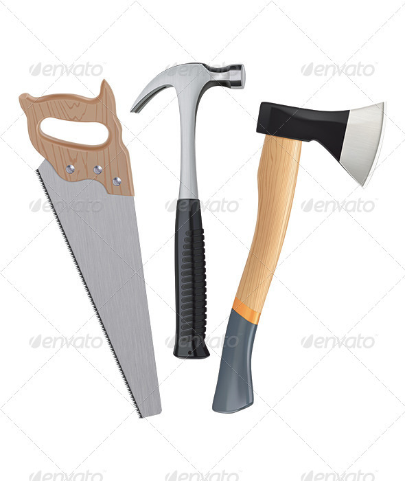 GraphicRiver Realistic Hammer Saw and Axe 6756918
