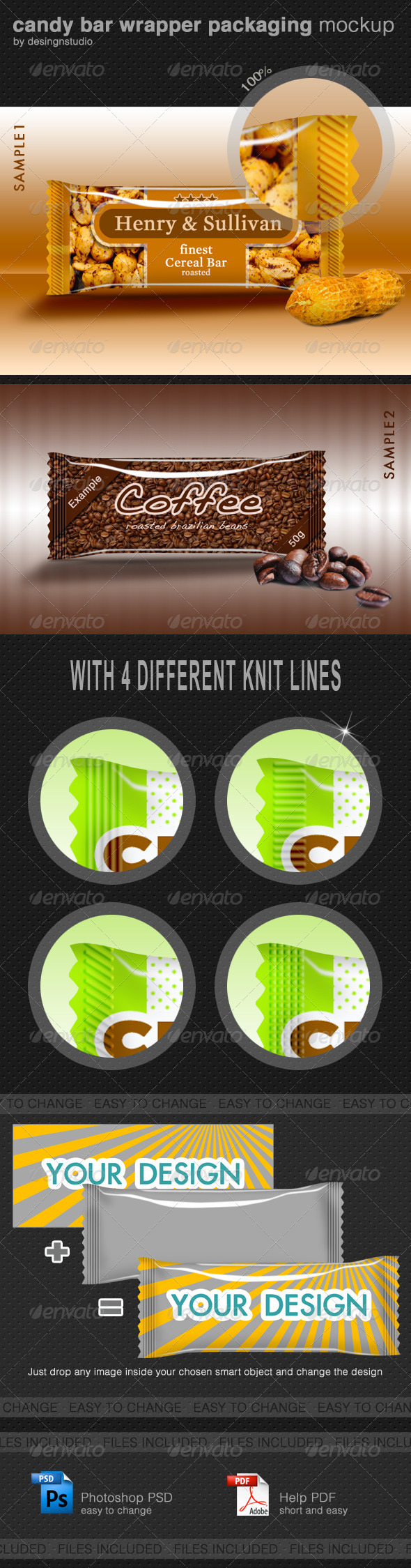 GraphicRiver Candy Bar Wrapper Packaging Mock-Up 705549