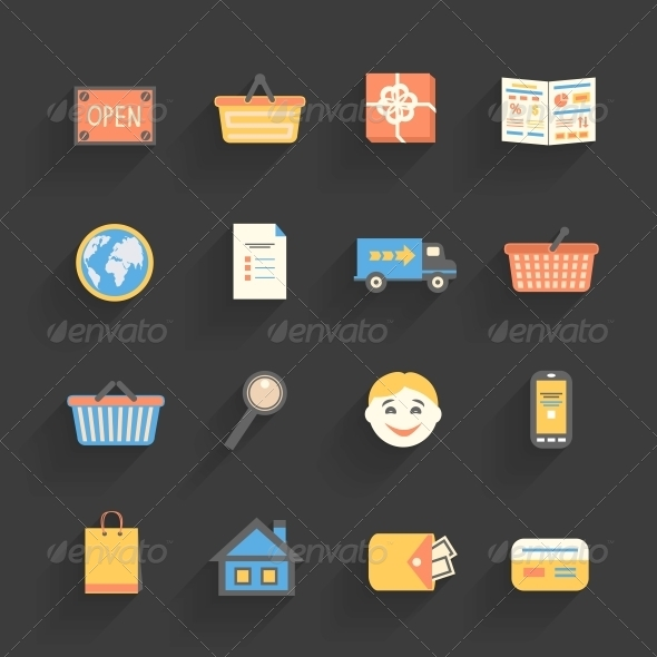 GraphicRiver Cartoon Icons Set for Online Store 6757022