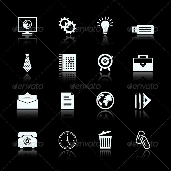 GraphicRiver Business Office Supplies Pictograms Set 6757032