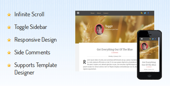 ThemeForest Togglr Responsive Blogger Template 6658508