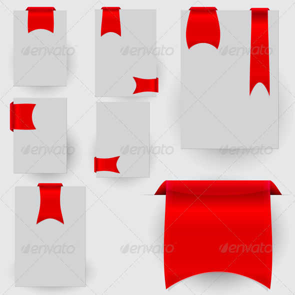 GraphicRiver Collection of the Red Bookmarks Ribbon on the Gray 6757333
