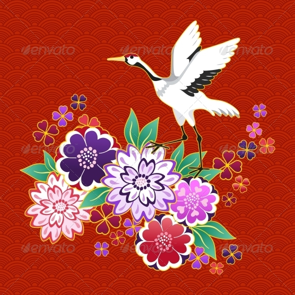 GraphicRiver Kimono Decorative Motif with Flowers and Crane 6757334