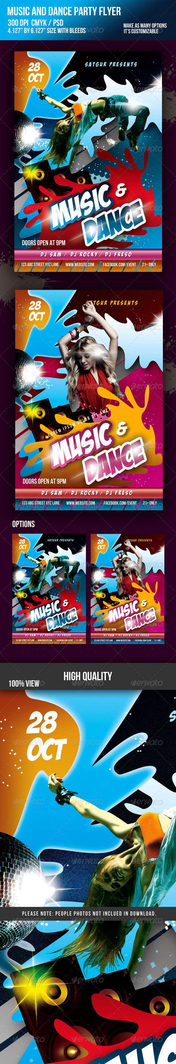 Music Dance Party Night Flyer - Clubs & Parties Events