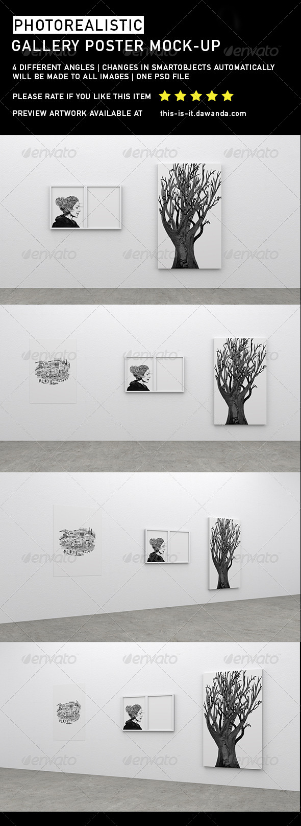 GraphicRiver Photorealistic Gallery Poster Mock-Up 3 6757967
