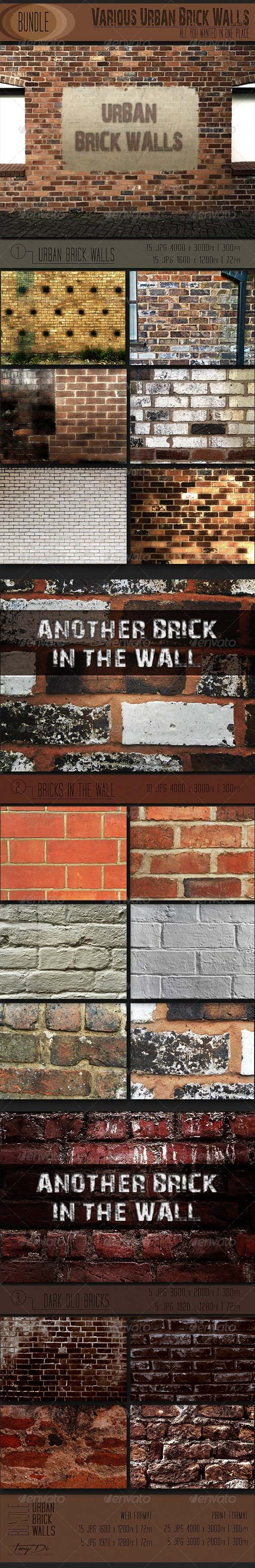 GraphicRiver Various Urban Brick Walls Bundle 6757989