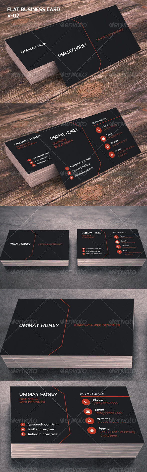 GraphicRiver Flat Business Card V-02 6758036
