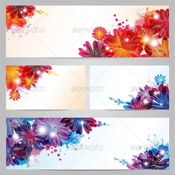 GraphicRiver Set of Banners and Business Cards with Flowers 6760844