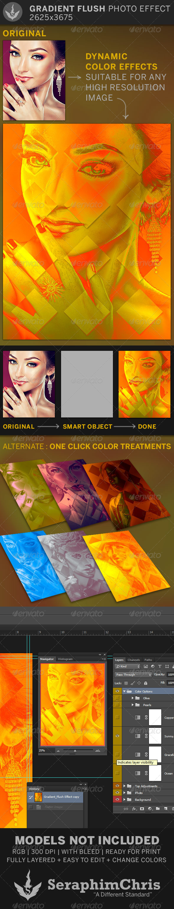 Gradient Flush 2 Photo Effect Template - Artistic Photo Templates