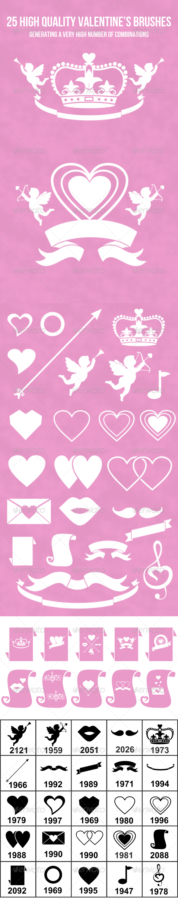 GraphicRiver 25 High Quality Valentine s Brush Set 6760969