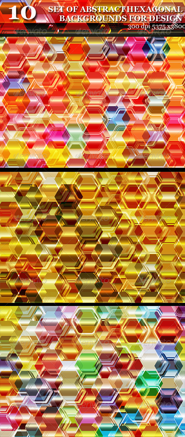 GraphicRiver Set of Shiny Abstract Hexagonal Backgrounds 6753571