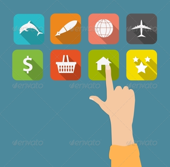 GraphicRiver Hand with Flat Icons 6761323