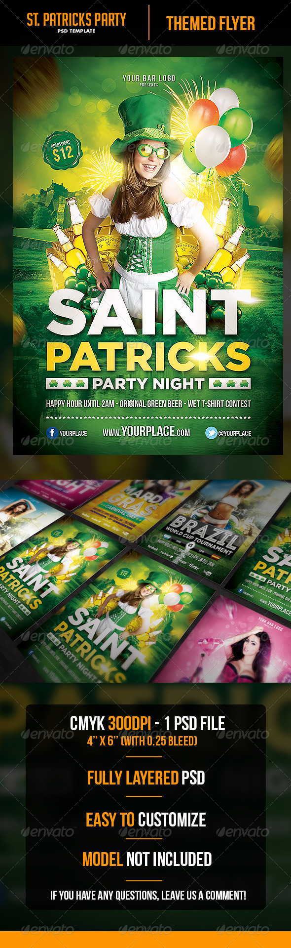 Saint Patricks Party Night Flyer Template - Holidays Events