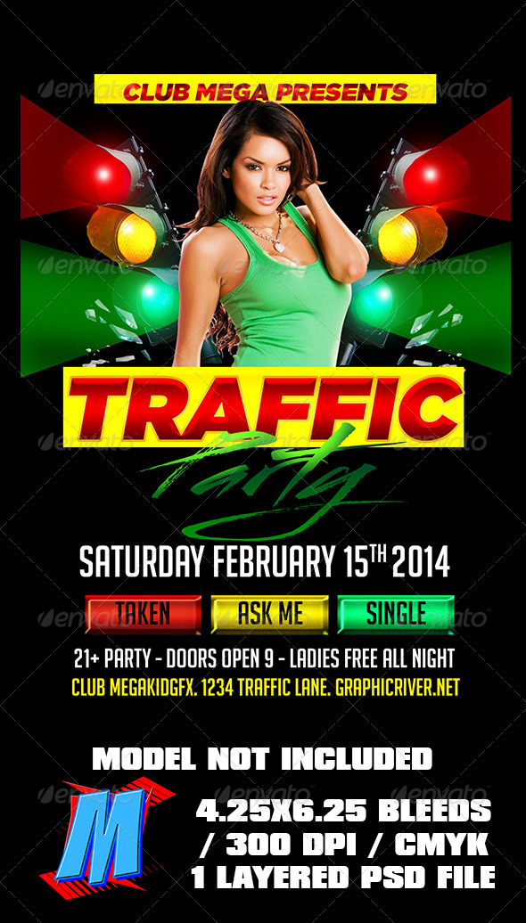 GraphicRiver Traffic Party Flyer Template 6761453