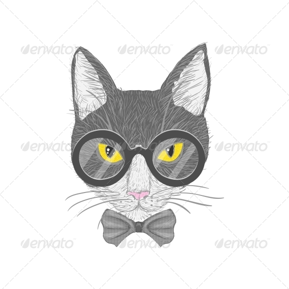 GraphicRiver Hipster Cat with Yellow Eyes 6761626