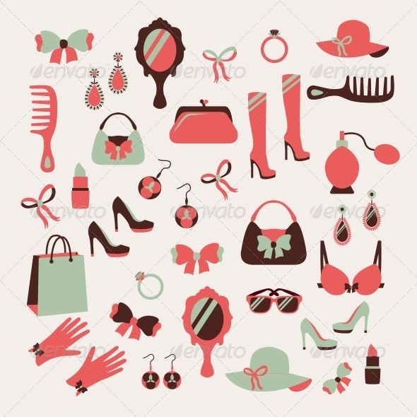 GraphicRiver Woman Accessories Icons Set 6761628