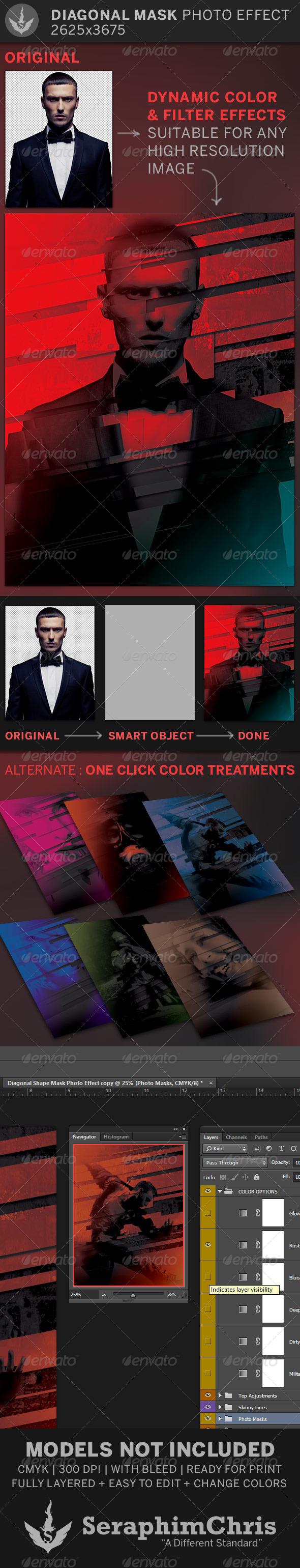 Diagonal Mask Photo Effect Template - Artistic Photo Templates